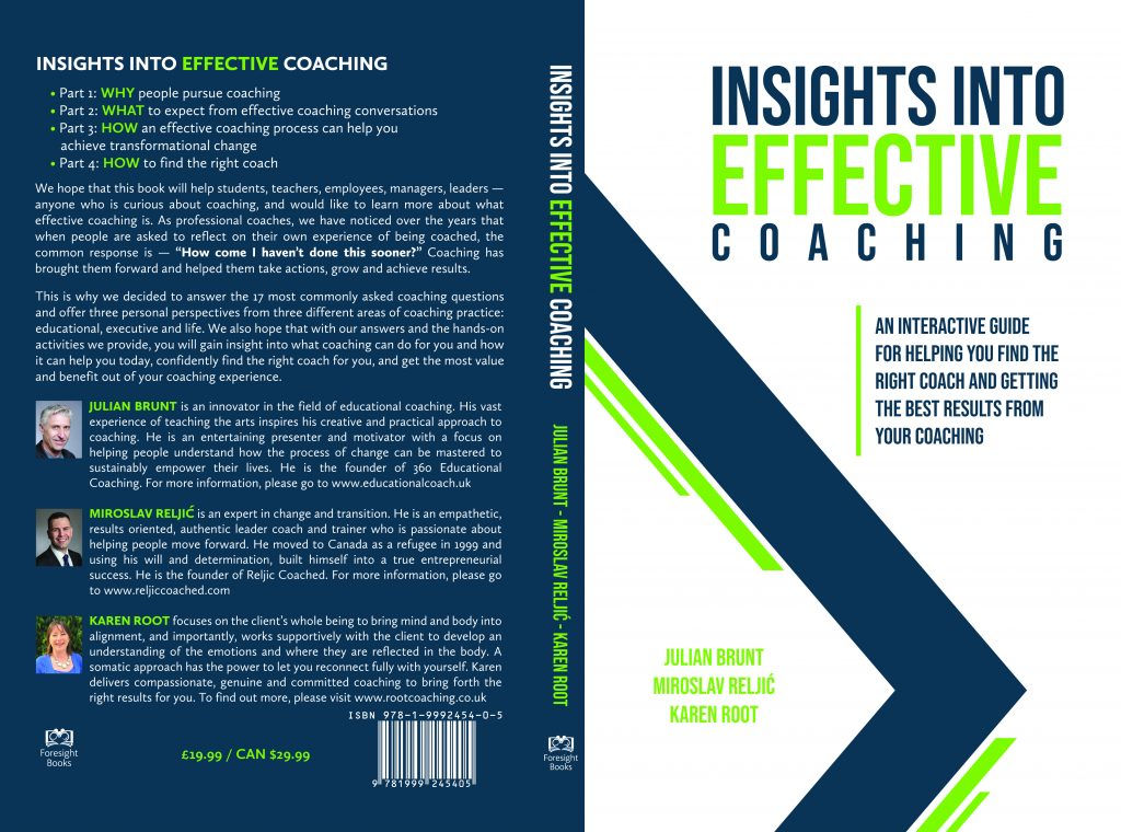 The cover of my newly published coaching book 'Insights into Effective Coaching